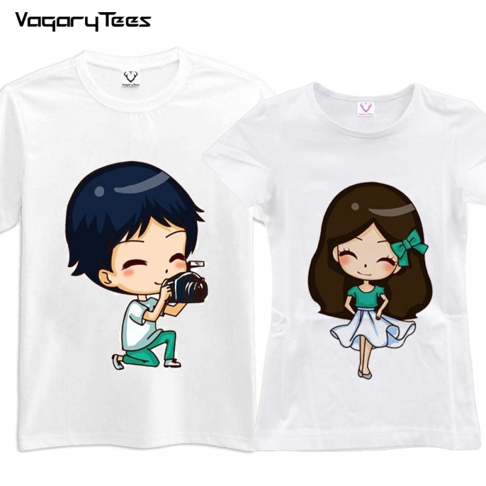 cf690707b Summer Valentine Tshirt Lovers Clothes Couple T-shirt Women Men Funny  Cartoon Print T Shirts His and Hers Gifts For Loved Price: 17.85 #tees