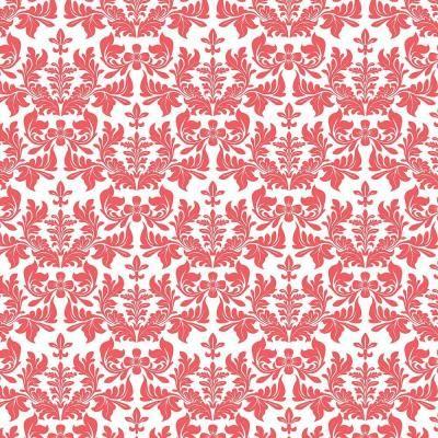 Vintage Inspired Adhesive Damask Drawer Paper Red