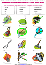 Gardening tools matching exercise esl worksheet nyelv for Gardening tools dictionary