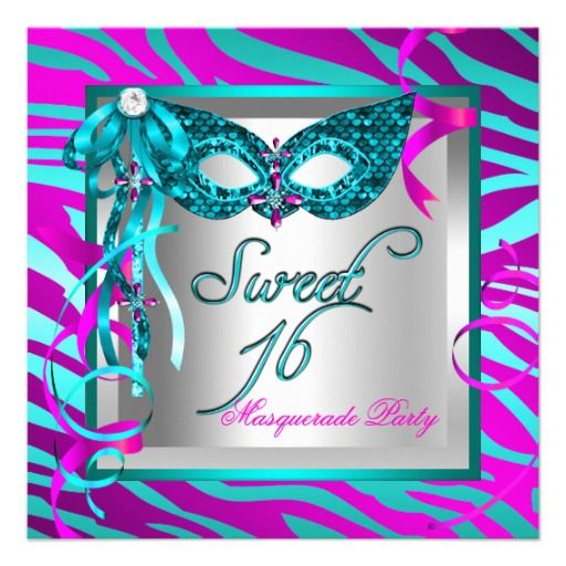 Teal Hot Pink Zebra Masquerade Sweet 16 Sixteen Personalized Announcement