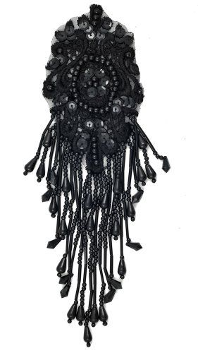 "Pearl Beaded Sequin Applique, Bridal Applique, 8-3/4"" x 2-5/8"", BLACK, ROI-44580 Applique http://www.amazon.com/dp/B00DZ149T4/ref=cm_sw_r_pi_dp_ScaVwb087CMQM"