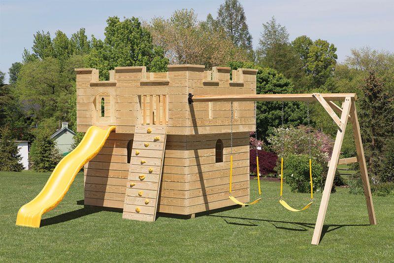 Medium Wooden Castle Playground | Adirondack Storage Barns