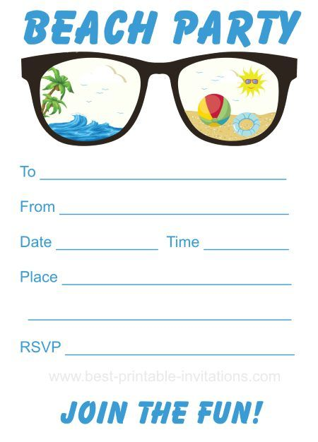 Beach Party Invitation - Free printable party invites from www ...