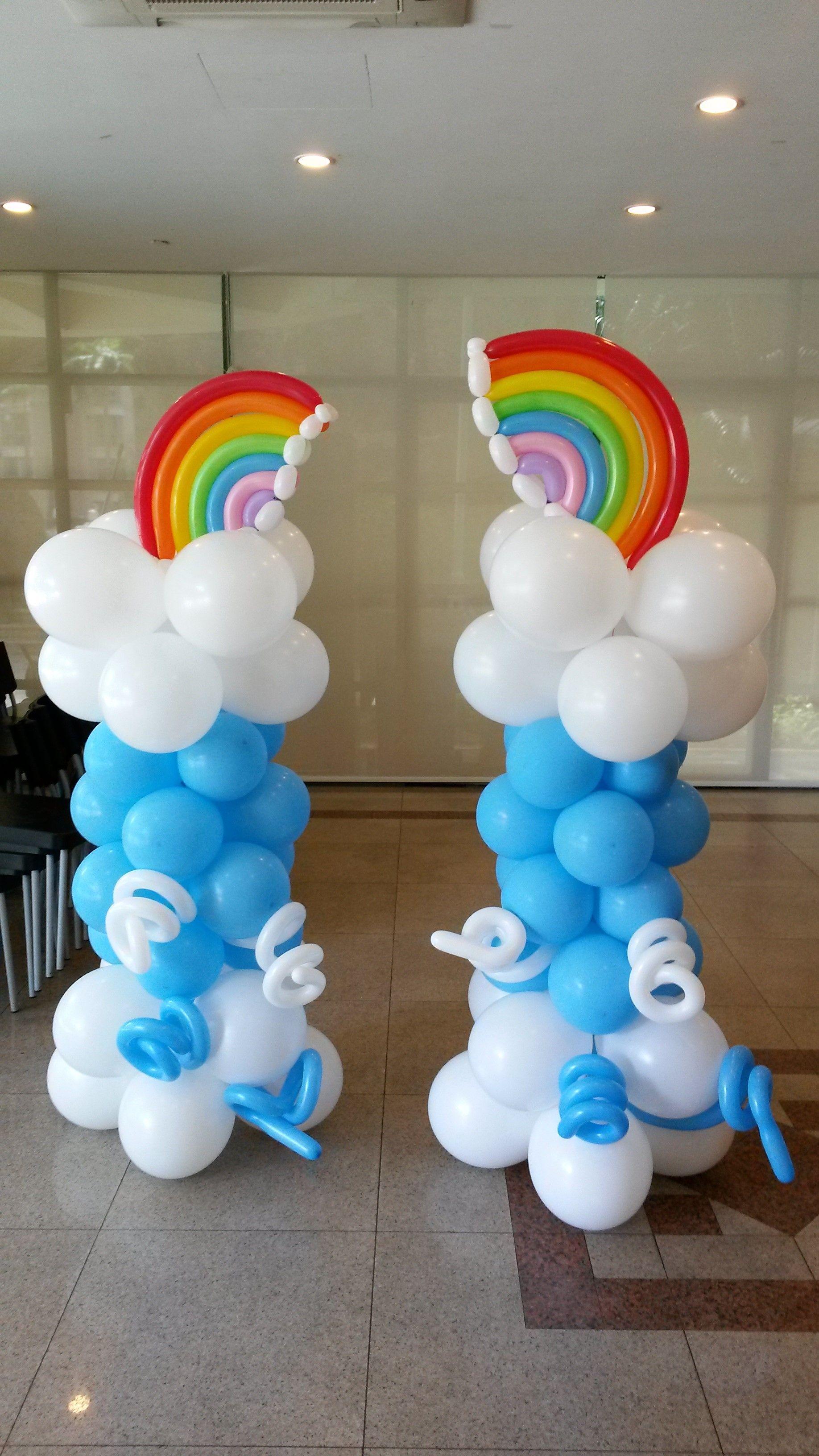Diy balloon columns - Rainbow Balloon Columns