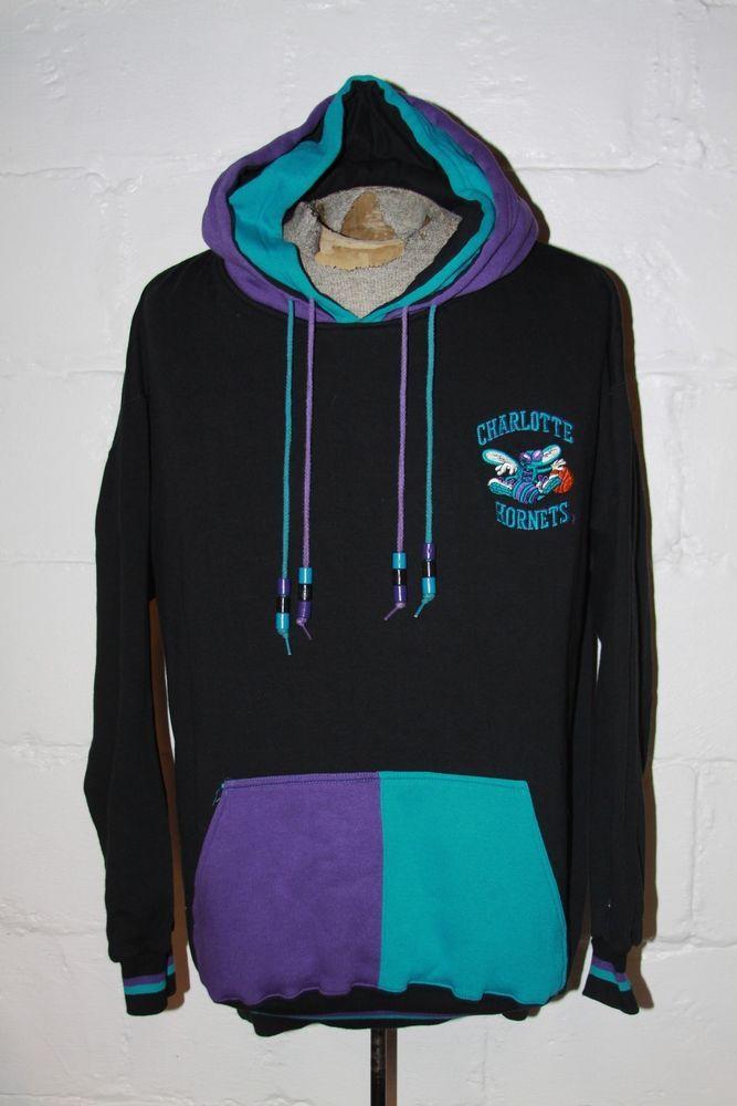 7da4293d5 VTG 90 s Charlotte Hornets Black Starter Hoodie Hooded Sweatshirt Jacket Sz  XXL  Starter  CharlotteHornets
