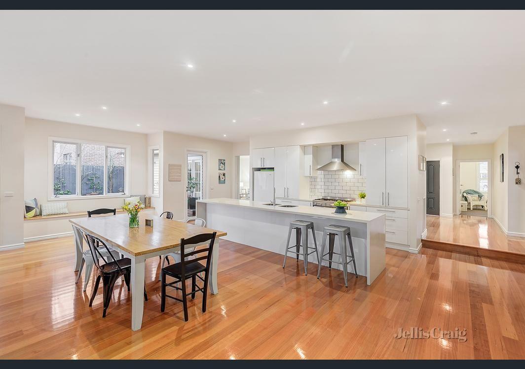 long kitchen island, window seat.   dream home : social kitchen ...