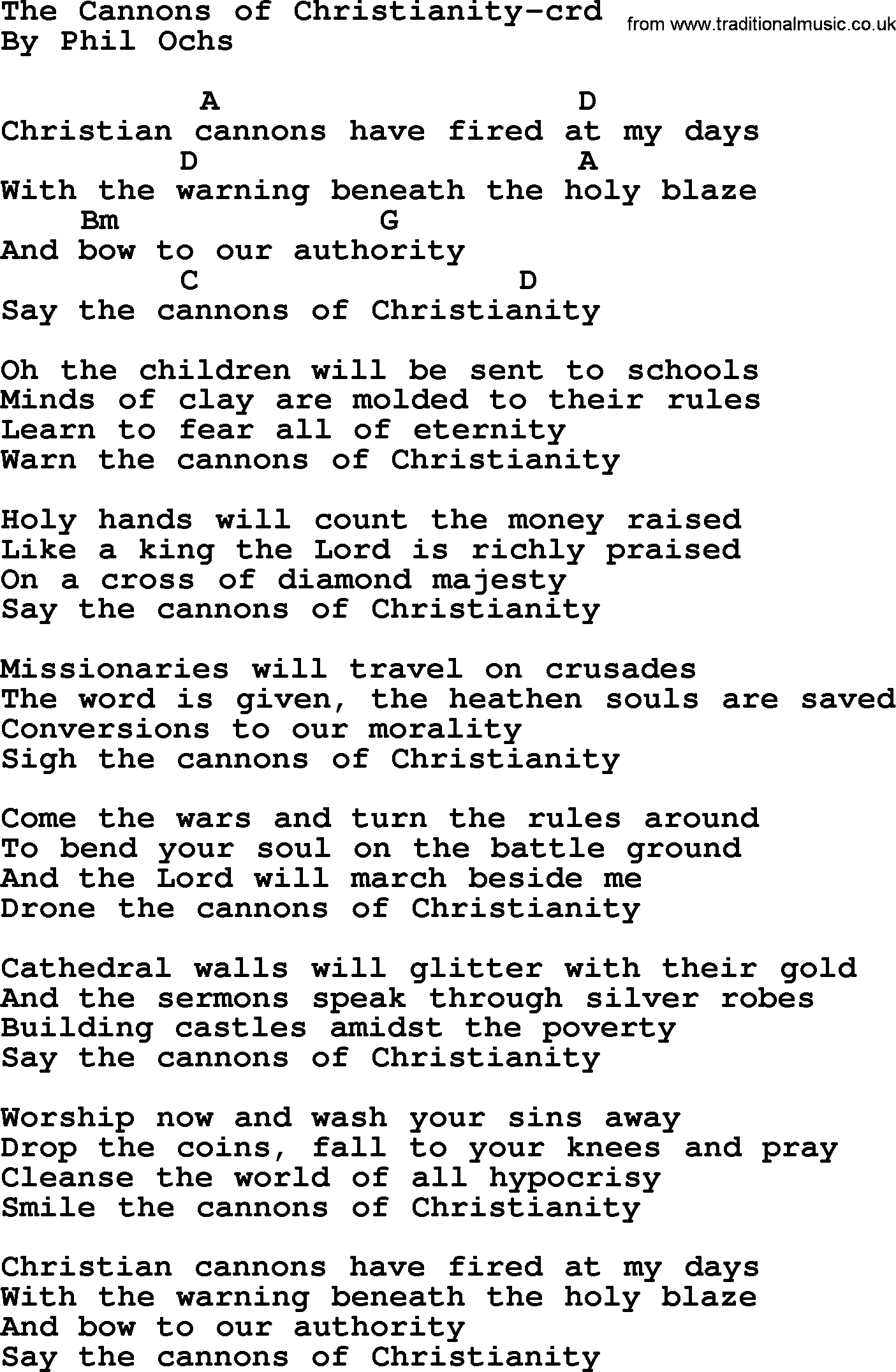 Phil ochs song the cannons of christianity by phil ochs lyrics phil ochs song the cannons of christianity by phil ochs lyrics and chords hexwebz Choice Image