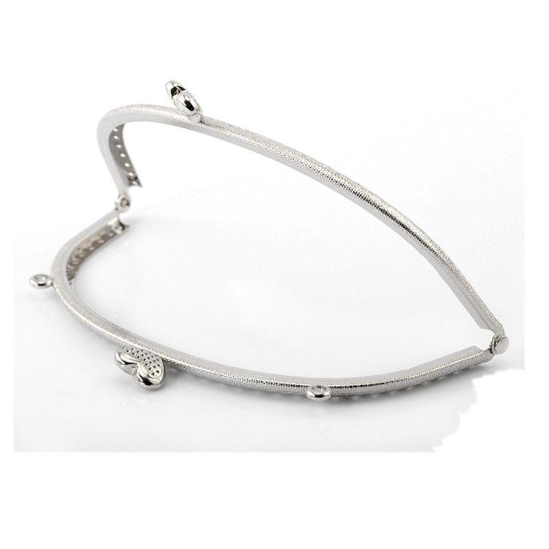 1Pc Silver Tone Heart Coins Purse Metal Arc Frame Kiss Clasp Lock Handbag Handle 16.5x8.5cm