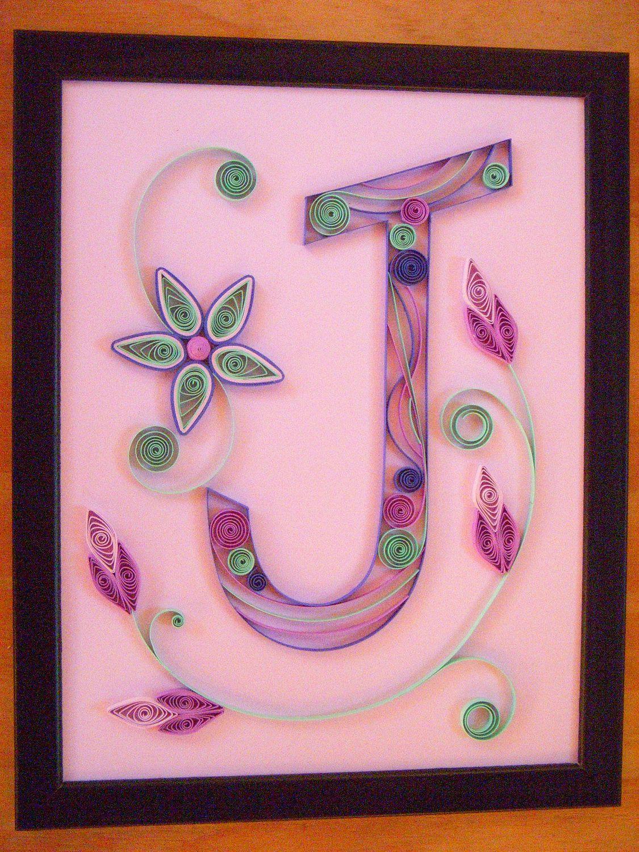 Paper Quilled Original Artwork - Quilled Monogram Letter J - OOAK ...