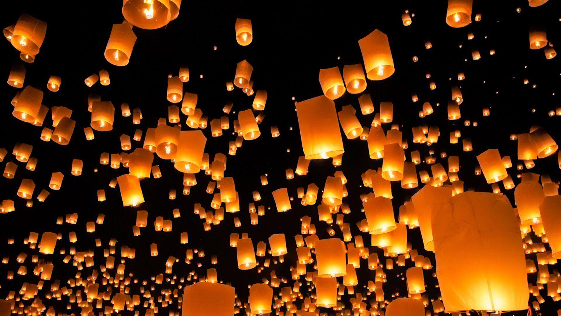 Beautiful Light In The Night City Lights Wallpaper Lit Wallpaper Floating Lanterns