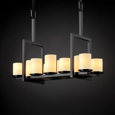 Dakota Alabaster Rocks Linear Chandelier By Justice Design