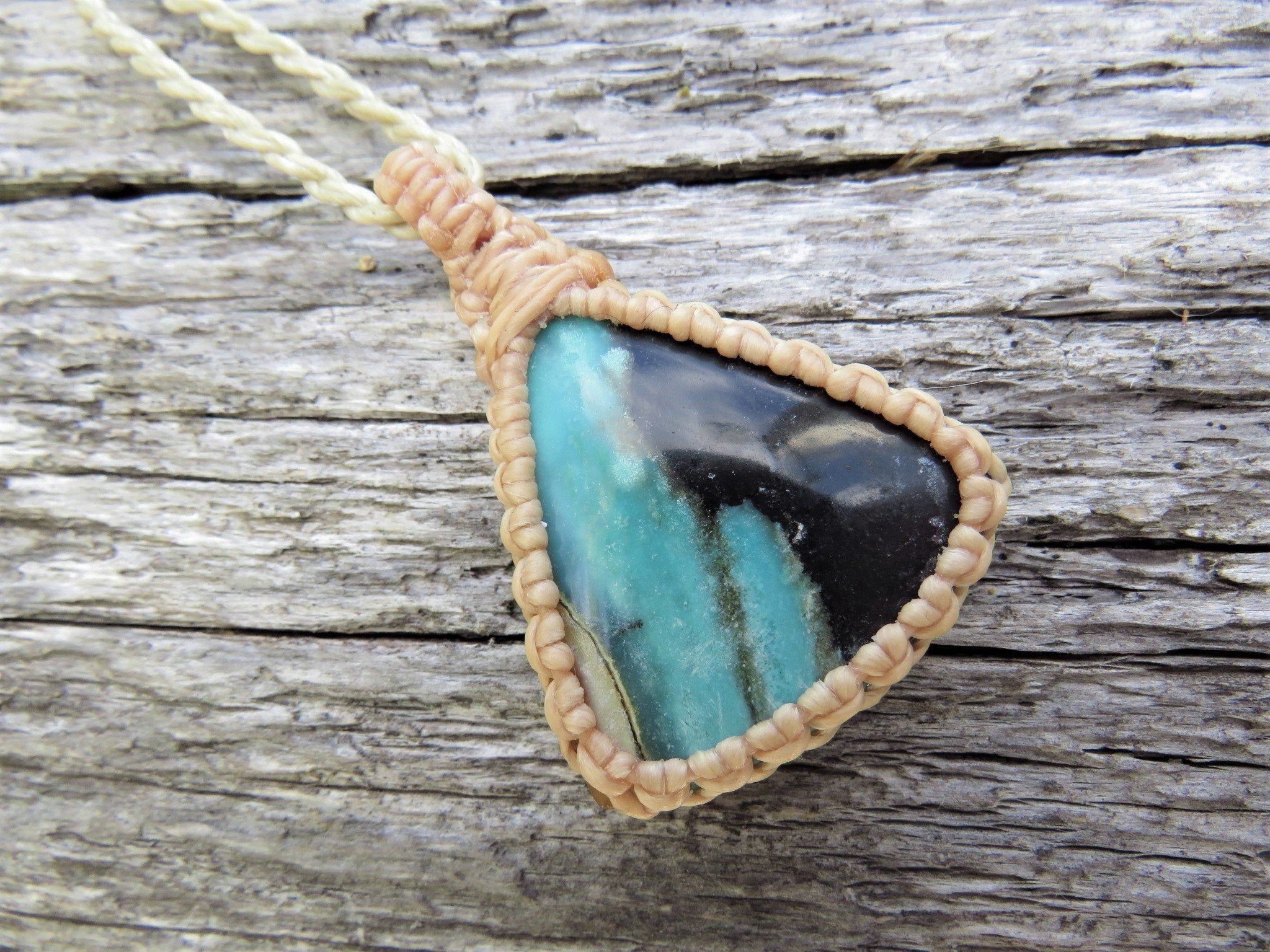 Blue Opalized Wood Macrame Necklace