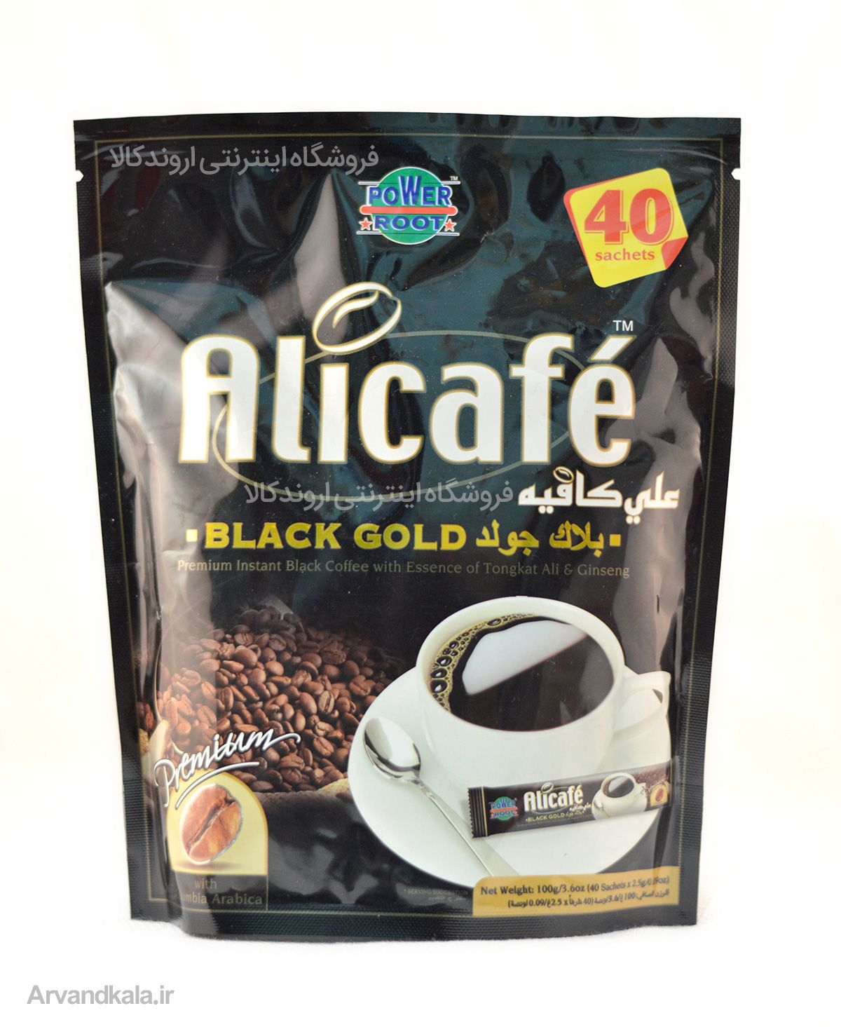 علی کافه مدل Black Gold Black Coffee Sachet Chip Bag
