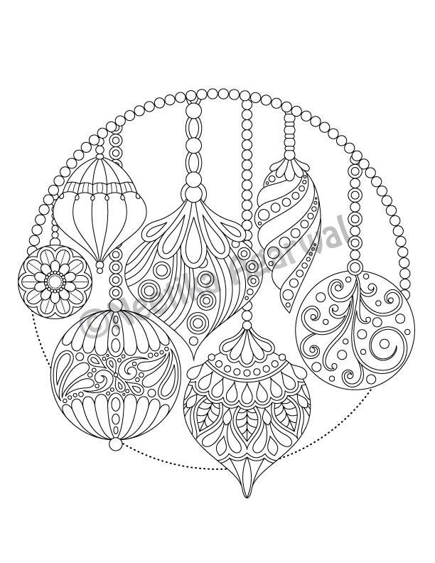 Christmas Hanging Ornaments - Adult Coloring Page - Christmas Coloring Page - Printable Coloring Page - Digital Download