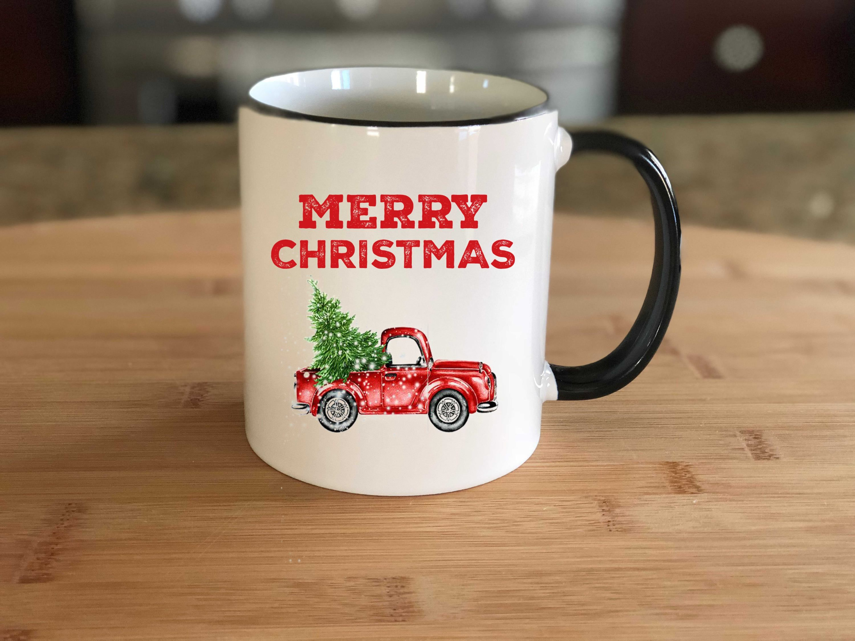 Old fashion merry christmas with red truck mugold red truck