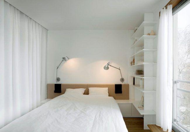 Wohnungseinrichtung Ideen Schlafzimmer Weiss Regalsystem Kleiderschrank  Vorhang