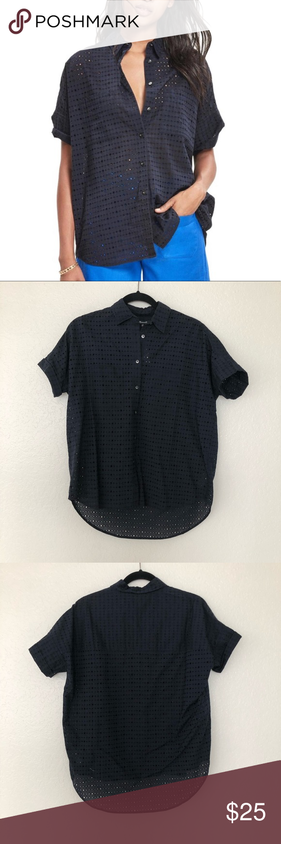 147688a2f Madewell Navy Blue Eyelet Courier Shirt NWT Madewell Eyelet Courier Shirt.  Size XS (oversized