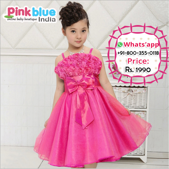 Elegant Hot Pink Fashionable Partywear Floral Dress for Baby Girl ...