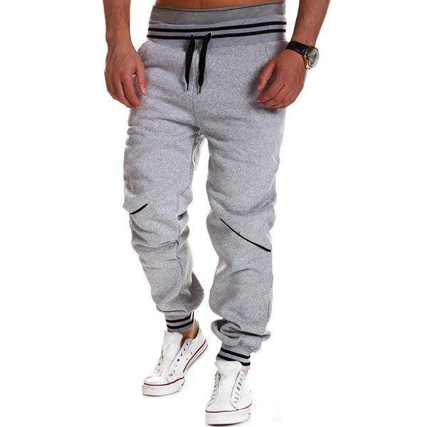 79ac2927 Pantalones casuales de deporte de color sólido con detalle combinado de talle  elástico con cordones para hombres - NewChic Móvil