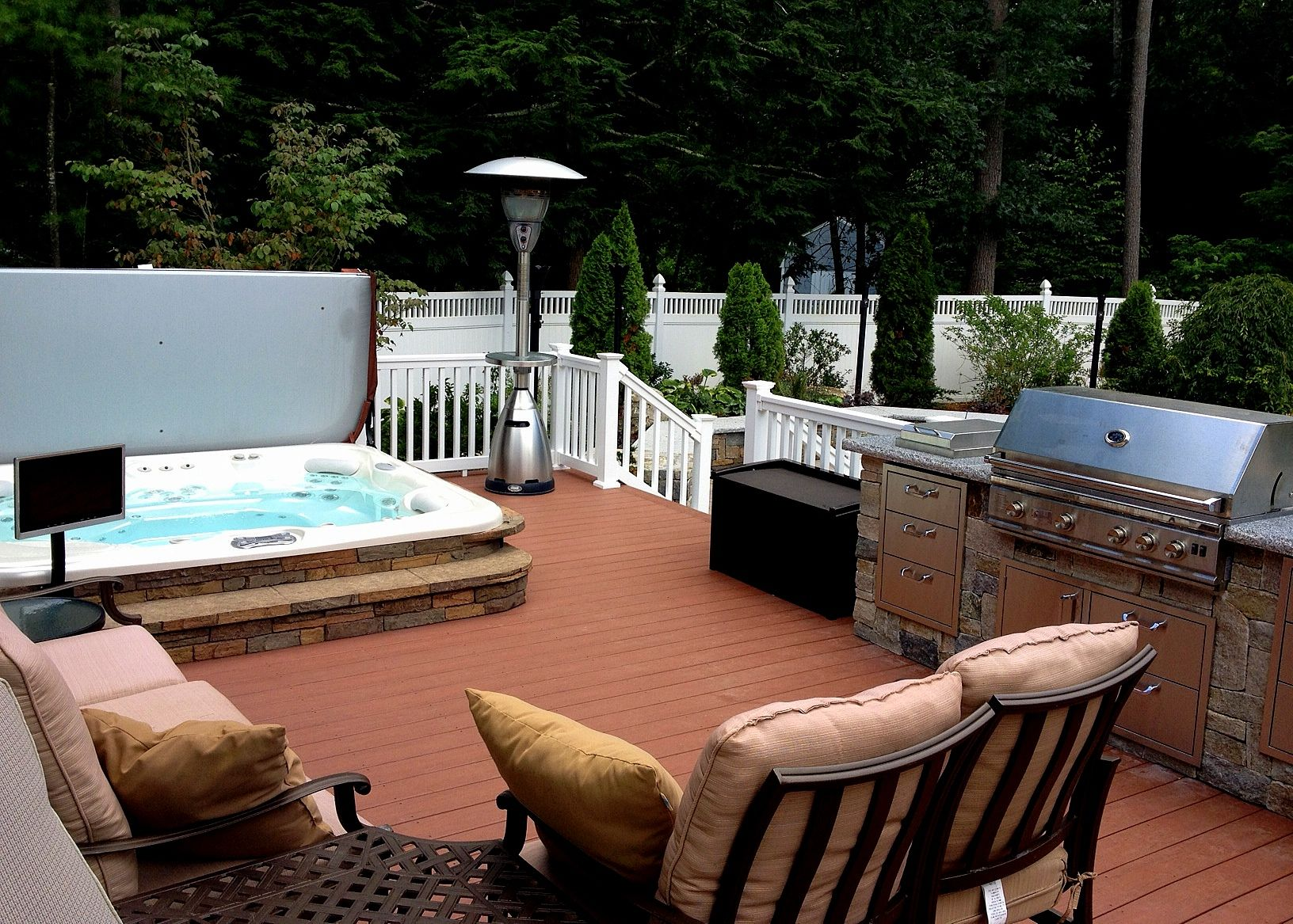 Hot Spring Spa Stone With Wireless Tv And Entertainment Groton Ma Purchased From Oasis Tub Sauna Of Nashua Nh
