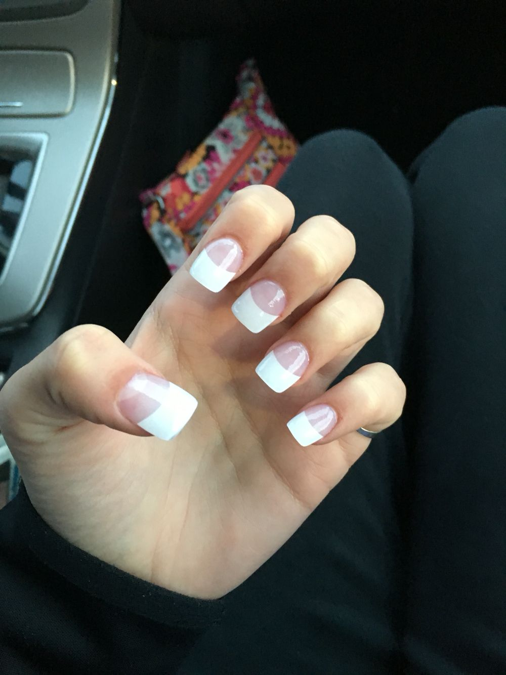Rounded square French tip acrylic nails. Great for a natural ...