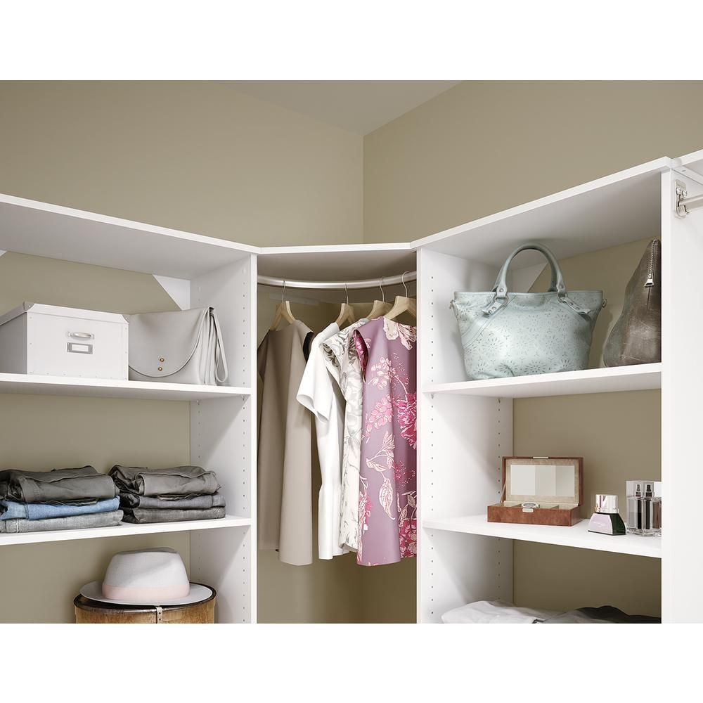 Closetmaid Style 25 In D X 25 In W X 62 In H White Adjustable Shelf For Corner Closet System Home Depot Closet System Home Depot Closet White Corner Shelf