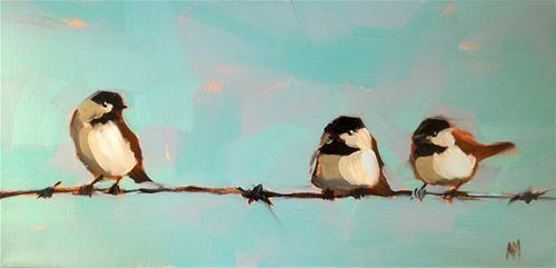"""chickadees on wire"" - Original Fine Art for Sale - © Angela Moulton"