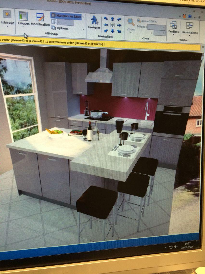 cuisine gris ultra brillant avec plan de travail effet. Black Bedroom Furniture Sets. Home Design Ideas