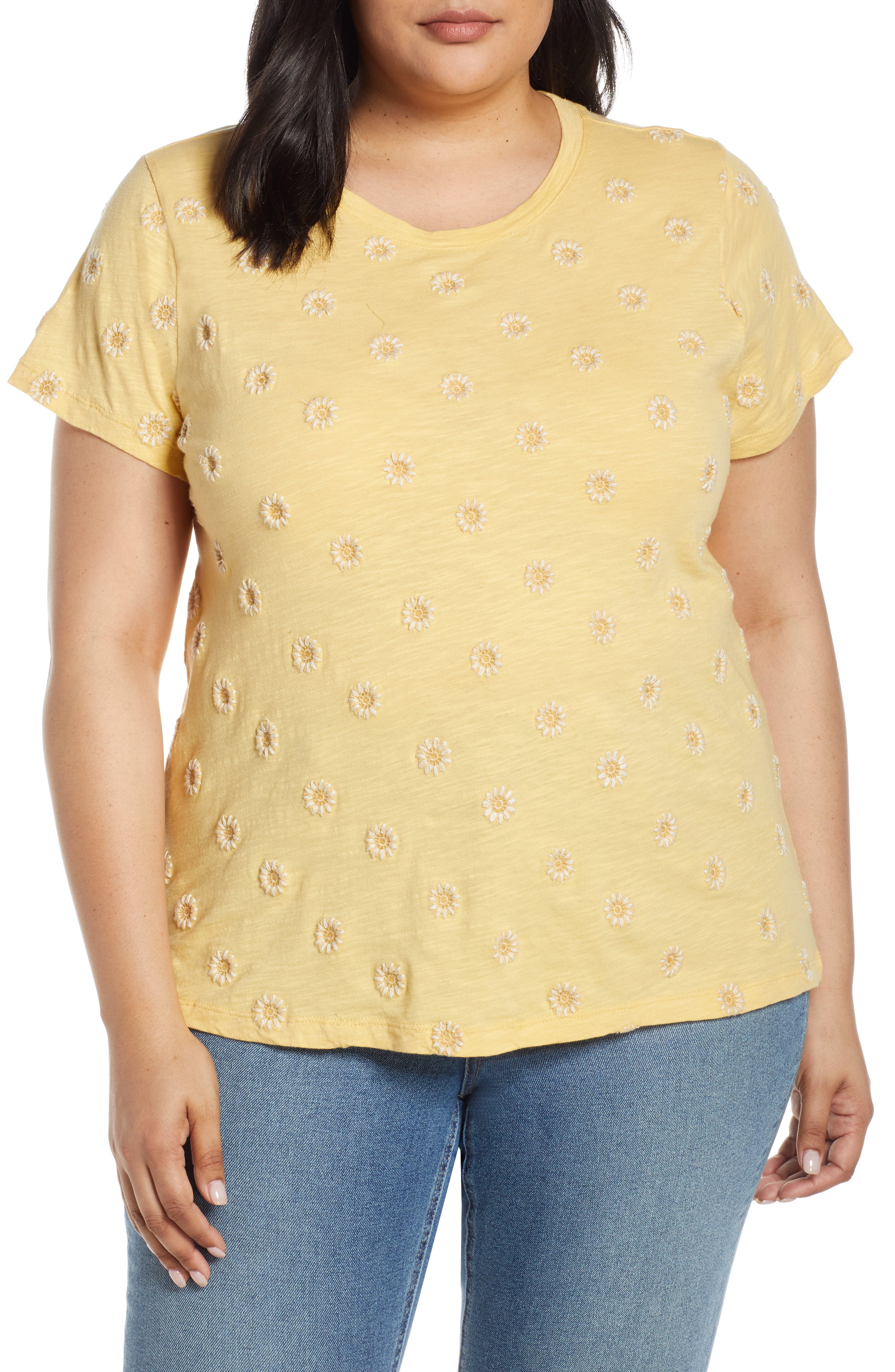 Lucky Brand Womens All Over All Over Embroidered Plus-Size Tee