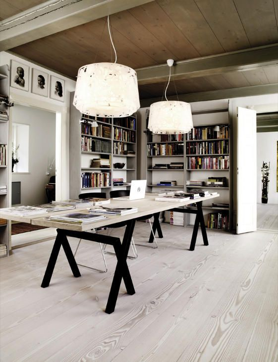 28 Dreamy Home Offices With Libraries For Creative Inspiration: Workspace Inspiration, Home Office Design, Office Interiors