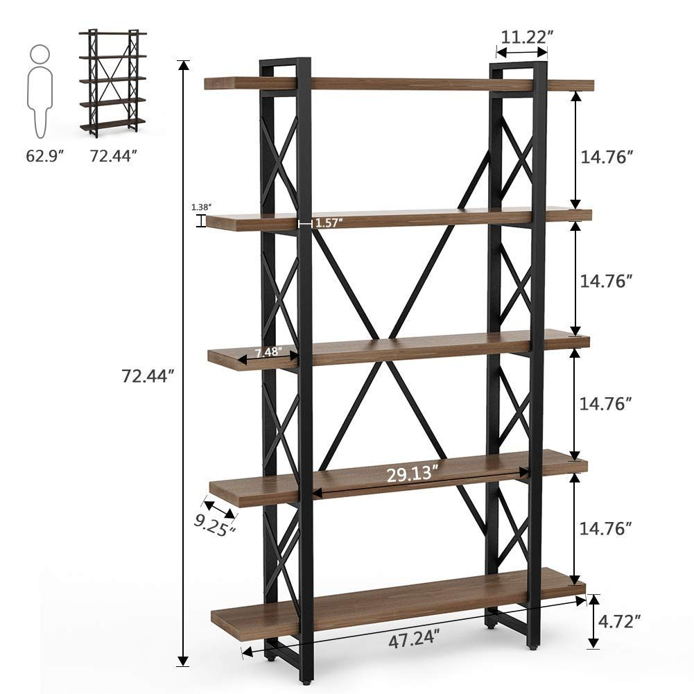LITTLE TREE Solid Wood 5 Shelf Industrial Style Bookcase and Book Shelves, Metal and Wood Free Vintage Standing Storage Shelf Units - Walmart.com