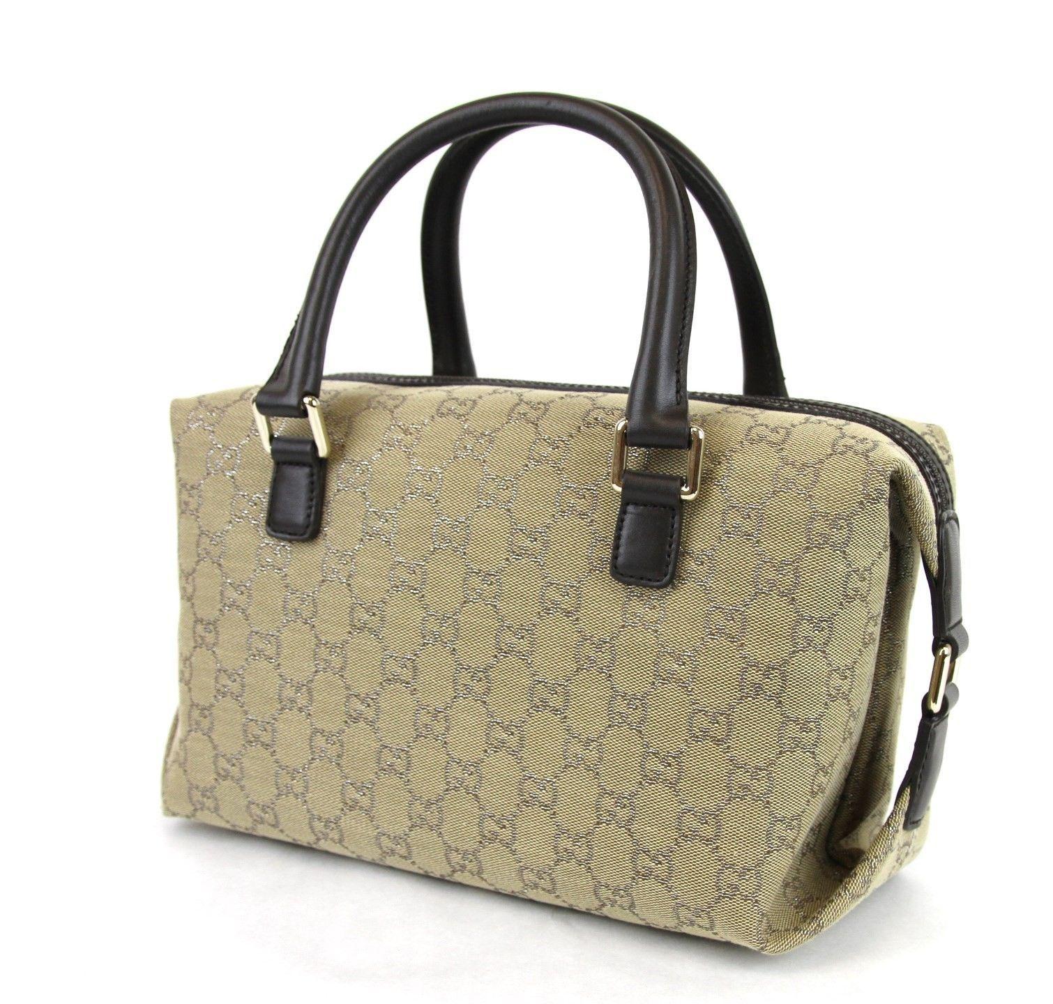 new authentic gucci original canvas joy boston bag handbag w silver