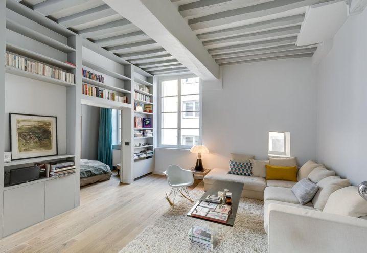 Una sala de estilo escandinavo muy moderna! Inspirate de la - bibliotecas modernas en casa
