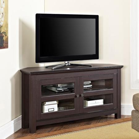 Walker Edison Black Wood Corner Tv Stand For Tvs Up To 48 Walmart Com Corner Tv Wood Corner Tv Stand Corner Tv Stand Walker edison corner tv stand