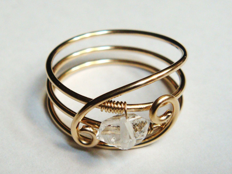 Rose Gold Filled Herkimer Diamond Ring April Birthstone Gemstone