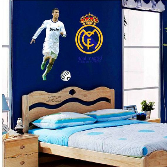 New Real Madrid Cristiano Ronaldo Logo Set Wall Sticker Play Football Decal  Art PP9906