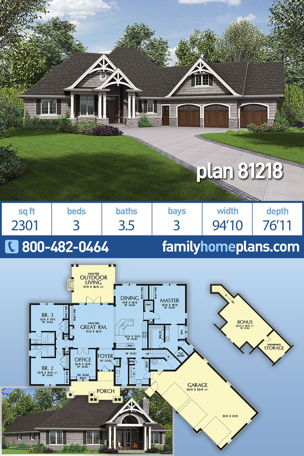 Craftsman Style House Plan 81218 With 3 Bed 4 Bath 3 Car Garage Craftsman Style House Plans Craftsman House Plans Family House Plans
