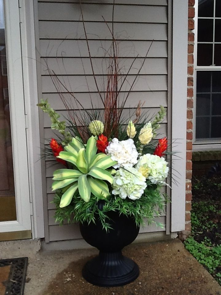 Front Door Planter Idea Tropical Hydrangeas Red Yellow