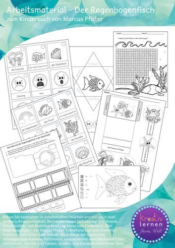 arbeitsbl tter zum kinderbuch der regenbogenfisch lap book geeignet unterrichtsmaterial in. Black Bedroom Furniture Sets. Home Design Ideas