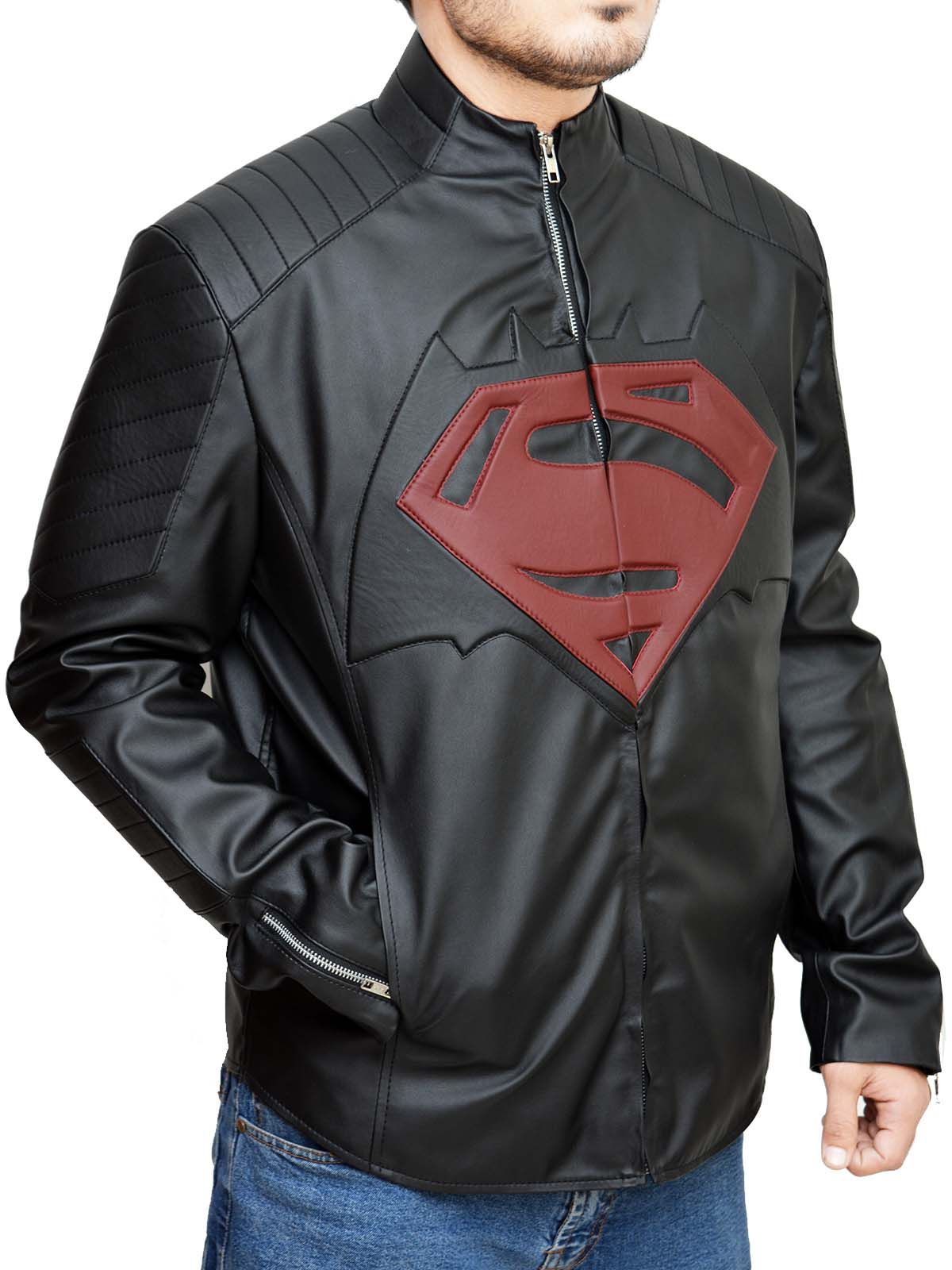 Superman Mens Marvel Superhero Leather Jacket Real
