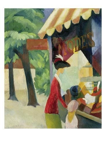 size: 24x18in Giclee Print: Vor Dem Hutladen Art Print by August Macke by Auguste Macke :
