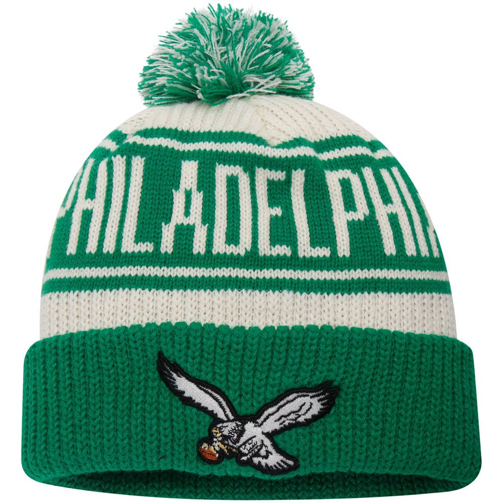 ada04ef608a Philadelphia Eagles NFL Pro Line by Fanatics Branded True Classic Z Route Cuffed  Knit Hat with Pom - Cream Kelly Green