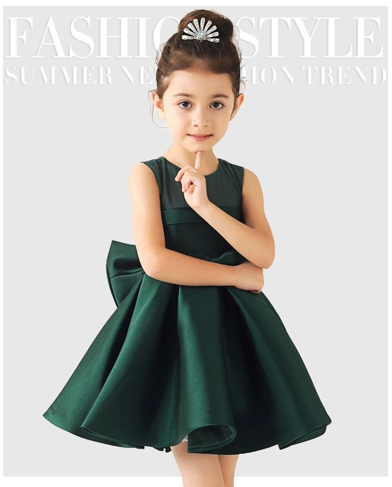 2016 Baby Girl Green White Red Satin Princess Dress With Big Bow