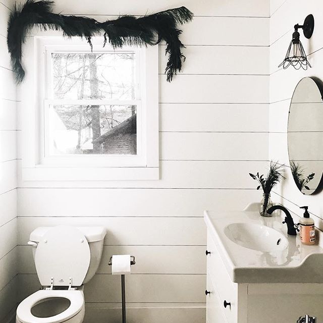 A little peak inside our hall bathroom covered in shiplap and white (just a few of my favorite things😉). Still several little projects to do in here before baby arrives 🤞...with finishing the tub/shower as the biggest thing remaining, but it's getting there!