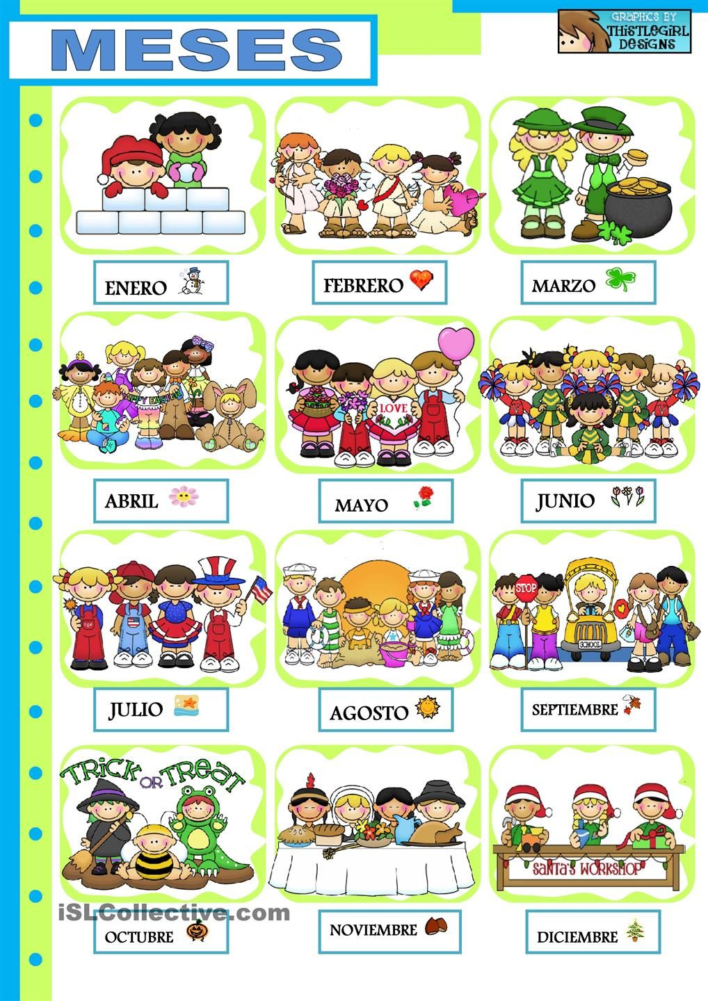 Los Mese Del Año En Ingles Meses Del Año Spanish Learning Teaching French Months In
