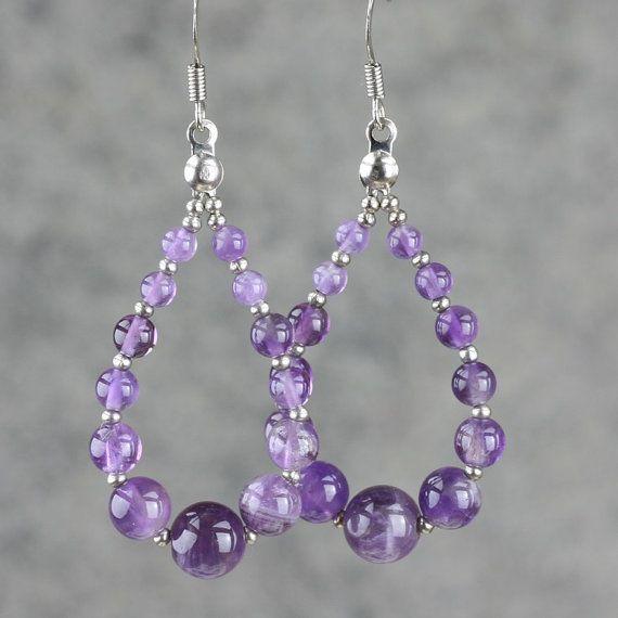 Amethyst tear drop loop hoop earrings handmade ani designs ...