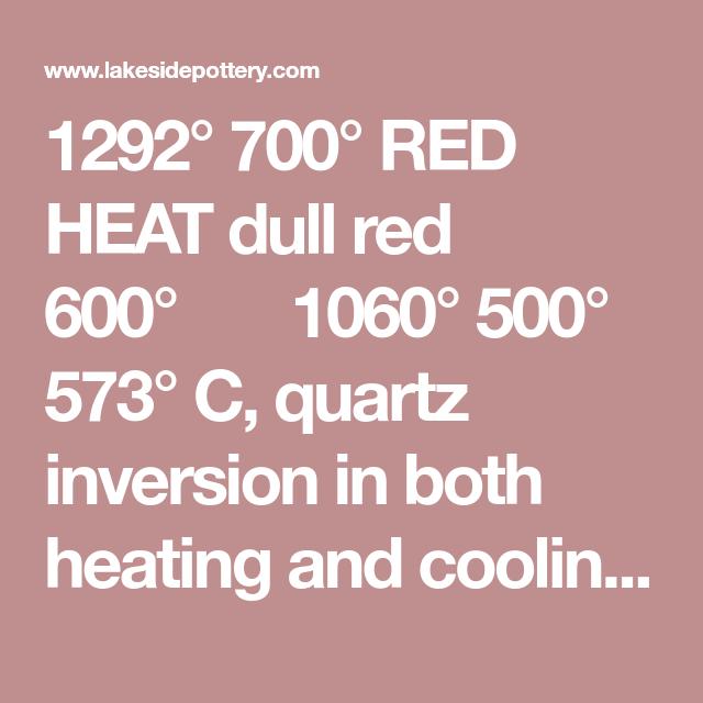 1292 700 Red Heat Dull Red 600 1060 500 573 C Quartz