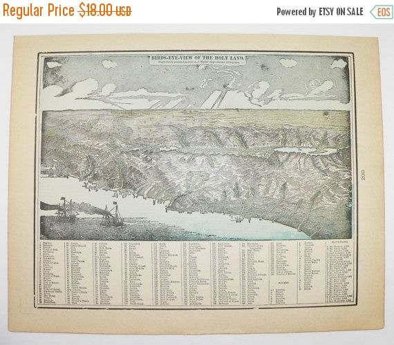 Vintage Palestine Map Holy Land 1900 Middle East Map Birds Eye
