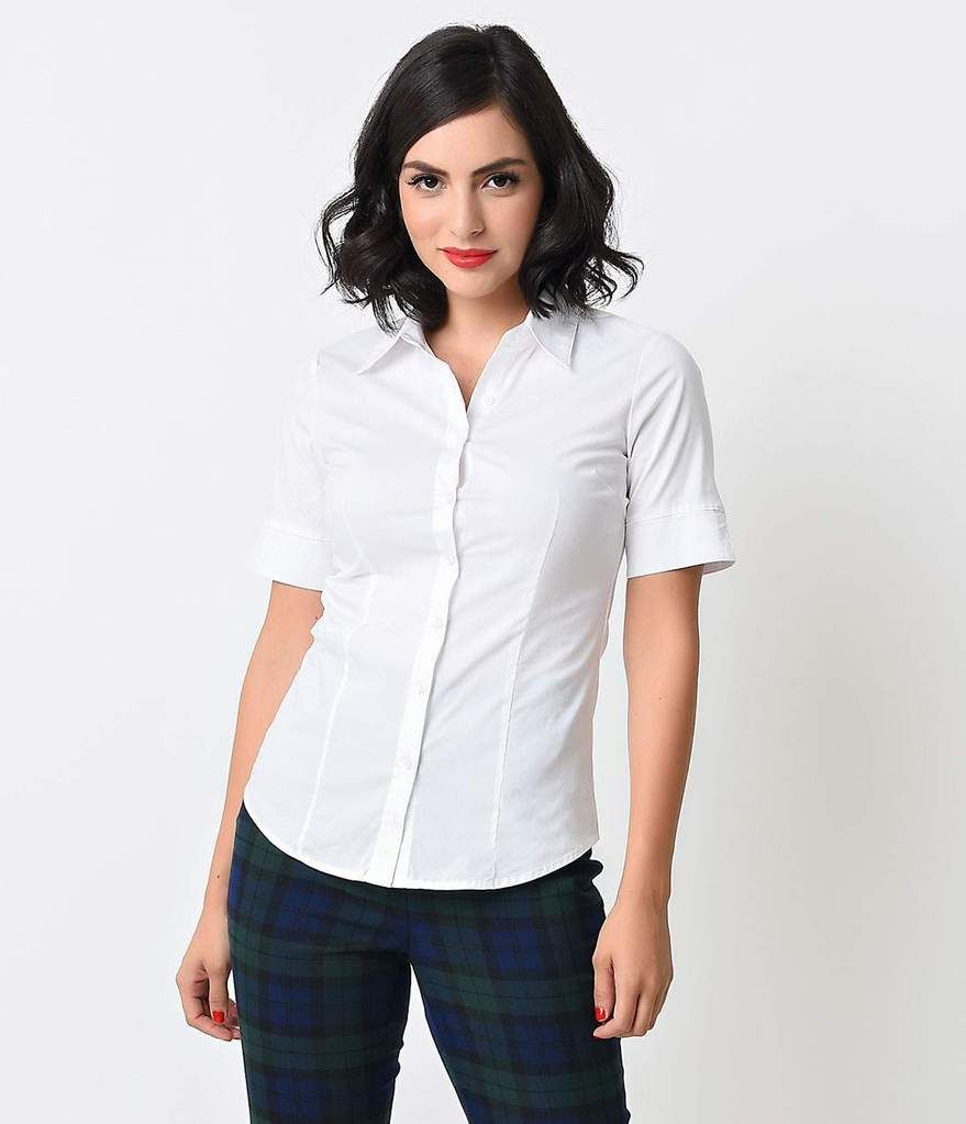 ee201361859fcb White Collared Short Sleeve Button Up Blouse in 2019 | 2019 style ...