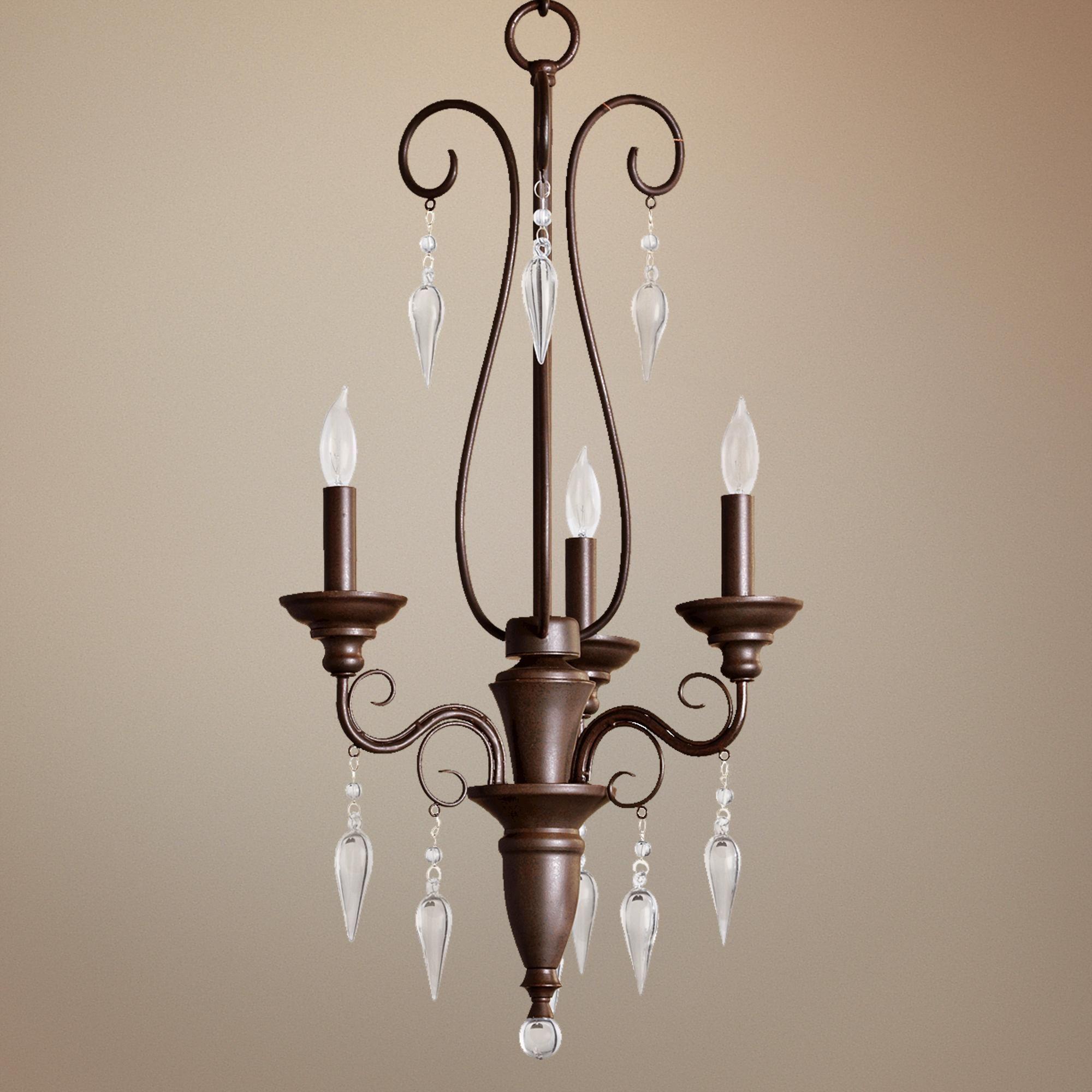 """Quorum Vesta 3 Light 16"""" Wide Oiled Bronze Chandelier"""